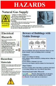 A poster showing how to control utilities and use caution around hazardous materials