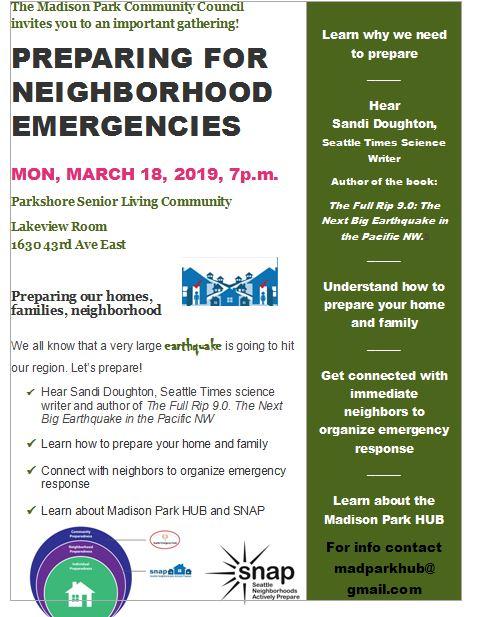 Madison Park – Preparing For Neighborhood Emergencies
