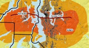 Map showing the Seattle Fault ine and shake impacts in King and Kitsap Counties