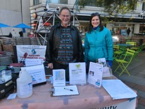 "David Ward and Amy O'Donnell help at the Hub table in Westlake Park for the ""Big Shaker"" event, Oct 2016"