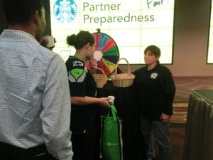 employees stand in front of a spinning wheel and have to answer quiz questions about the topics written on the wheel